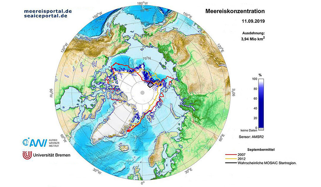 Geringe Meereisbedeckung in der Arktis