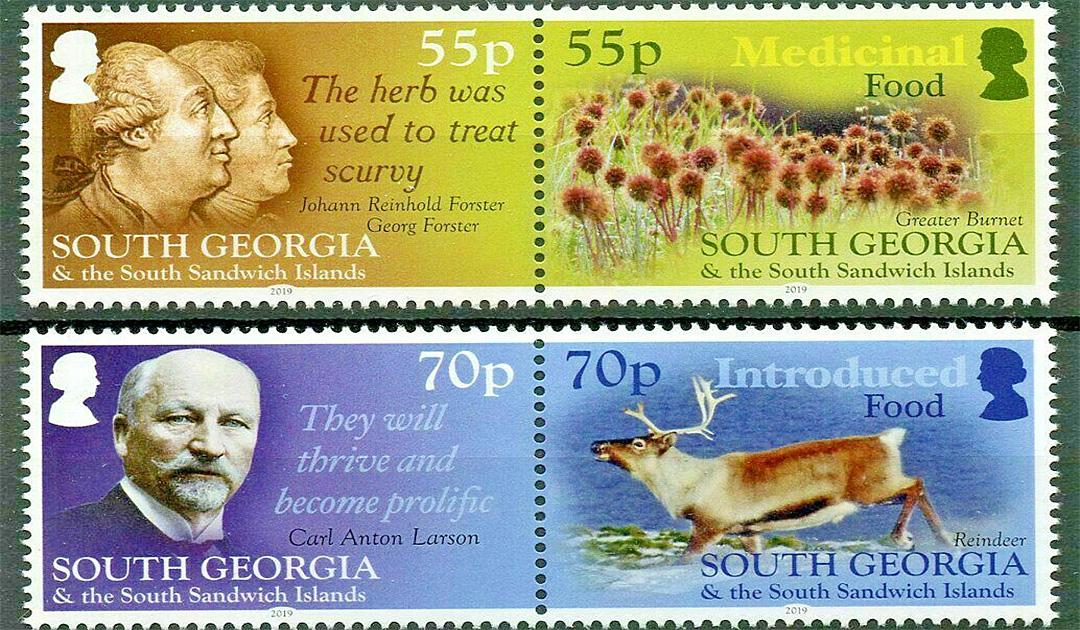 South Georgia veröffentlichte Lebensmittel-Briefmarken
