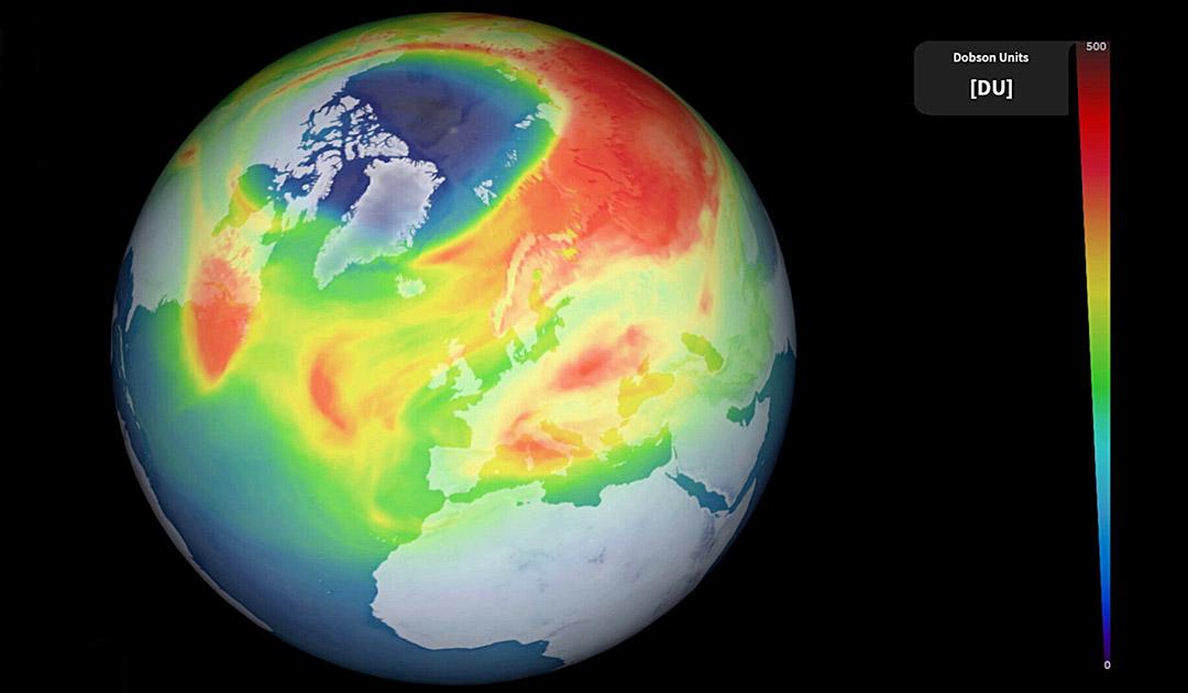 Über der Arktis öffnet sich ein seltenes Ozonloch