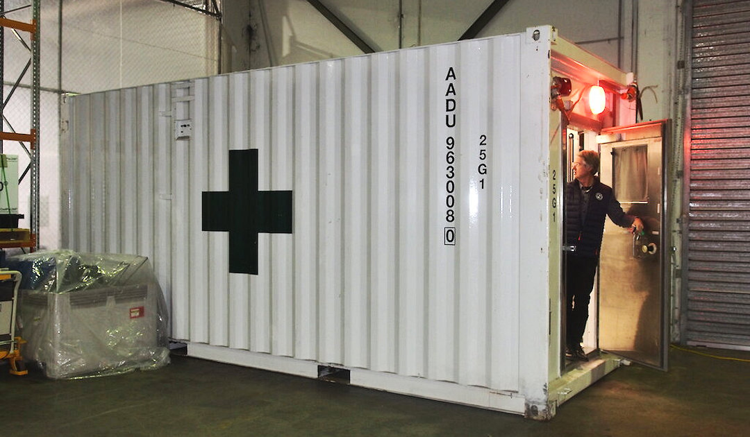 Container as medical unit on supply ship