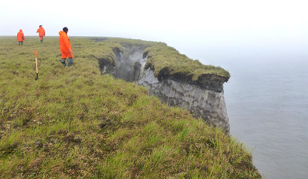 Rapid erosion of the permafrost soil in Siberia
