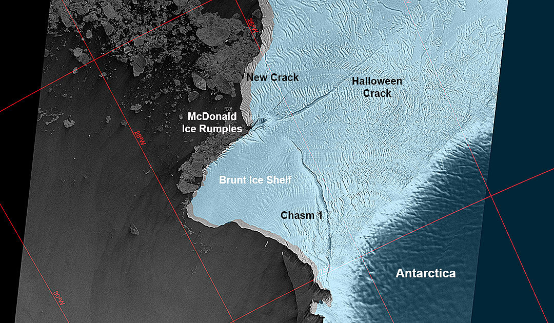 Iceberg calving off Brunt Ice Shelf