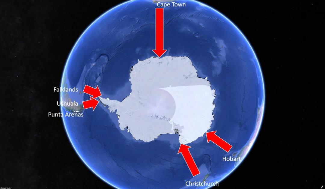 Wie kommt man zu den Ausgangsorten von Antarktisreisen