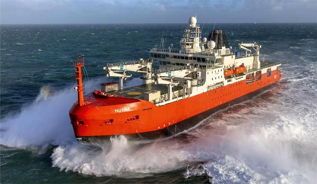 "Icebreaker ""RSV Nuyina"" en route to Hobart"